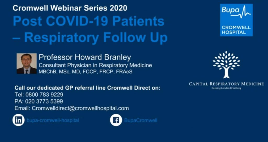 Professor Howard Branley - covid-19 patients respiratory follow up